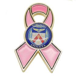 سرطان المينا المعدني المخصص دبوس بمشبك الشريط الوردي