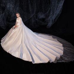 ثوب زفاف مثير من الساتان الفاخر ذو العروس عالية الجودة