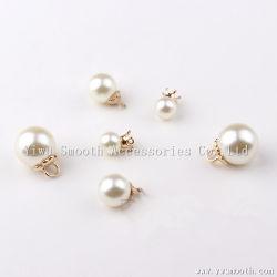 Perlas de la ronda de la moda de imitación de plástico blanco perla colgante broche remache