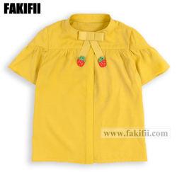 Usine marque ODM L'enfant/bébé fille d'usure jaune Vêtements Enfants fraise chemisier Chemise en coton de gros