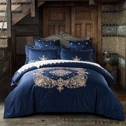 60s hommage en coton égyptien de la literie de luxe en soie Royal Set 4PCS roi lit Queen Size mariage fixe