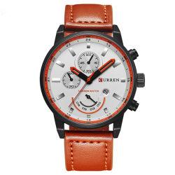 Los hombres de cuero auténtico impermeable reloj de relojes de pulsera de cuarzo analógico Calendario Mens Watch para los hombres de negocios Relogio Masculino