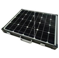 Marco negro Plegable Portátil Cargador Solar 100W para acampar.