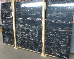 Chinois en marbre noir naturel Silver Dragon Polis Grand bord scié de dalle de pierre de marbre noir