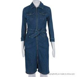 Kleid der Form-Ausdehnungs-Denim-Jeans-Frauen (F036)