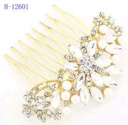 Recht Silver-Tone simulierte Perlen-Blumen-Haar-Kamm-Haar-Zubehör
