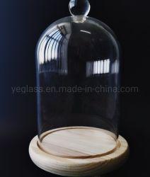 Kundenspezifischer Größen-handgemachter Fertigkeit-Griff-Glasabdeckung mit hölzerner Unterseite