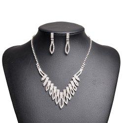 Свадьбу разорванные оцинкованные Rhinestone Crystal фо цепочка+Earring украшения для невесты устраивающих