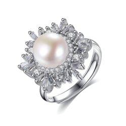 Petit flocon de neige 925 Silver Wedding Ring avec l'eau douce Bijoux en perles