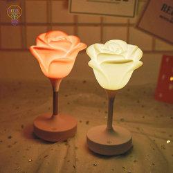 Silikon-Tisch-Lampe USB-nachladbare romantische Lampe LED-Rose