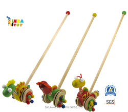 Het intellectuele Houten Speelgoed van de Baby voor de Gift van Jonge geitjes, Duw 21483 langs Dinosaurussen van Lindatoy