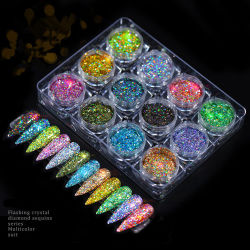 Nuevo diseño de Navidad 12 colores de uñas Nail reluce/Polvo Paillette parte de uñas Nail Art Deco