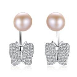 925 Sterling Silver brillantes Cz goujon d'eau douce de papillons Pearl Earrings