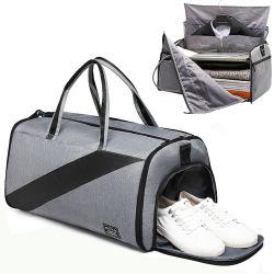 Commerce de gros logo personnalisé Oxford Mens costume de voyage pliable Duffe Salle de Gym Sport Frais de voyage sac de sport avec compartiment de chaussures