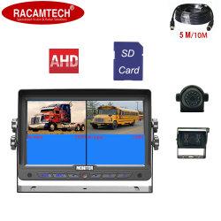 7 POLEGADAS DVR SD 4 canais de entrada de vídeo do monitor de visualização traseira carro Monitor quádruplo com uma câmara