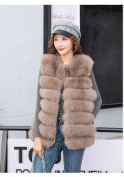 2019 Diseño de estrella de 70 cm de largo invierno Fox Fur Vest Mujer Gris Elegante verdadero Fox Fur Gilet