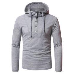 Fabricante dos homens Slim Fit Casual mangas longas Camisa Hoody Lazer