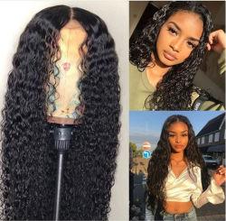 Europa y Estados Unidos caliente negro señoras pelucas en el largo pelo rizado frente de onda de pequeño volumen de fibra química Lace pelucas de Cabello