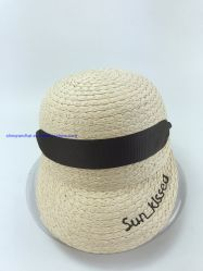 Embroidery& Gromet 모자를 가진 서류상 라피아 야자 밀짚