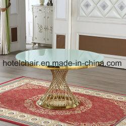 Mobiliário de jantar de aço inoxidável com mesas de jantar de vidro de têmpera para venda