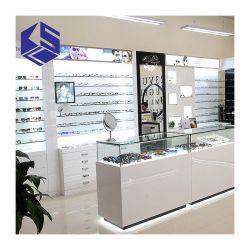 Tienda de Muebles de madera contador óptica gafas de soporte de pantalla