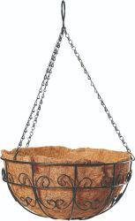 ココヤシはさみ金および鎖(Bh090015)が付いている金属の花プランター鉄ワイヤーハングのバスケット