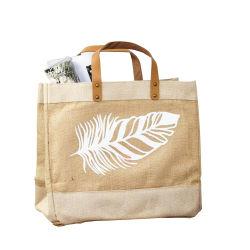 شعار مخصص كبير السعة بقالة شعوذة تسوق معاد تدويره صديق للبيئة حقيبة مع مقبض جلدي PU