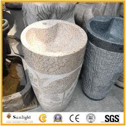 Un design moderne en pierre de granit naturel lavabo sur pied avec la sculpture