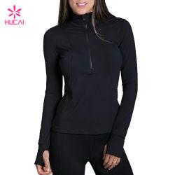 Commerce de gros nylon Spandex Femmes de la moitié de fermeture à glissière veste de Yoga