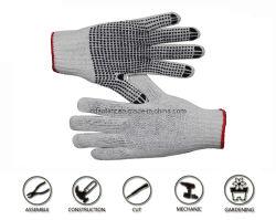 새끼로 묶는 PVC에 의하여 점을 찍는 면에 의하여 뜨개질을 하는 정원 손 안전 일 작동 장갑, 면 플라스틱 장갑