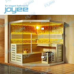 Interiores de baño de lujo Joyee esquina casa sauna de madera seca de infrarrojos cabina de ducha en Polonia