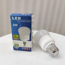 9W высокой люмен E27 светодиодная лампа с пластикового корпуса