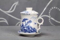 Фарфоровые чашки чая с фильтром и форму диска