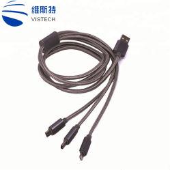 3 em 1 Multi Carregador de Telefone USB Cabo Trançado Tipo C Micro Cabo de carregamento USB para iPhone Samsung
