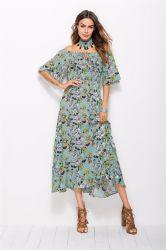 Мода печати для досуга платье off плечо цветочные долго стиль одежды