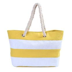 女性の波のキャンバス浜のトートバックの大きいボタンのイギリスのしまのあるハンドバッグのクラッチキャンデーのショルダー・バッグ