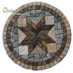 Aspecto sofisticado Jardim de ardósia em mosaico de cores Multi Round Pátio Circular Espalhadoras medalhão