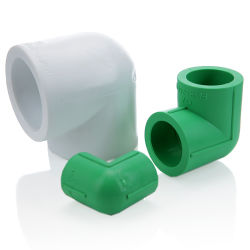 Verde duradera precio asequible al por mayor de la fábrica todos los tipos de conexiones del tubo de plástico PPR Codo de 90 grados de fábrica