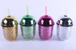 350ml Creative ronde générale de l'oeuf en plastique tasse tasse de paille de couleur unie Couleur mixte double couche de protection environnementale Cup