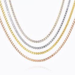 금 도금 박스 체인 스테인리스 스틸 팔찌 목걸이 남성용 귀금속 수공예 디자인 패션 보석