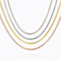 Boîte en acier inoxydable plaqué or Collier Bracelet de la chaîne de l'artisanat de gros de bijoux de mode de conception