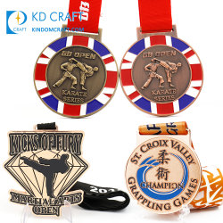 personalizado Taekwondo Judo competição esportiva medalhas personalizadas de esmalte Prêmio Metal Jiu-Jitsu Artes Marciais Jiu Jitsu Medal of Honor Karate com Box