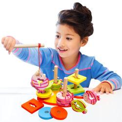 구획 쌓아올리는 기계 장난감 아이 유아를 위한 게임을 낚시질하는 기하학적인 분류 널 교육 장난감을 겹쳐 쌓이는 나무로 되는 모양 분류하는 사람 수수께끼 장난감