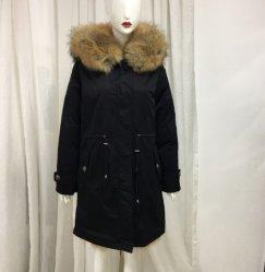 Última preto elegante Long Parka Senhor&a senhora deputada verdadeiro Fox Camada de peles com cores naturais revestidas de roupa