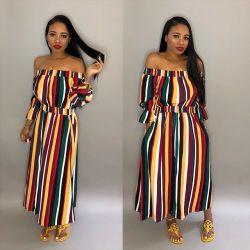 واحدة كتف نساء [مسي] فستان لون مخططة لون نساء [مإكسي] اللباس حتى 30 مرة حتى 30