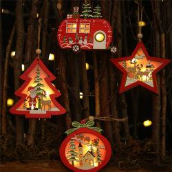 Luz de LED de árvore de Natal Star Carro Pingentes de madeira enfeites Xmas DIY artesanato em madeira Kids Dom para casa natal decorações de terceiros