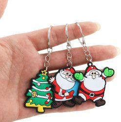 산타클로스 만화 Keychain PVC 크리스마스를 위한 연약한 Keychain 만화 키 펀던트 창조적인 열쇠 고리 작은 선물