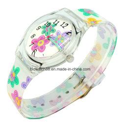 패턴 인쇄를 가진 주문을 받아서 만들어진 승진 일본 운동 형식 플라스틱 시계
