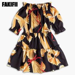 OEM / ODM Customized Baby Wear Kinderkleidung Sommer Mädchen Mode Bownot Print Kleid Großhandel Kinderkleidung