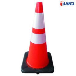 kegel van het Verkeer van pvc van de Waarschuwing van de Weg van 70cm de Oranje Plastic met Weerspiegelende Band